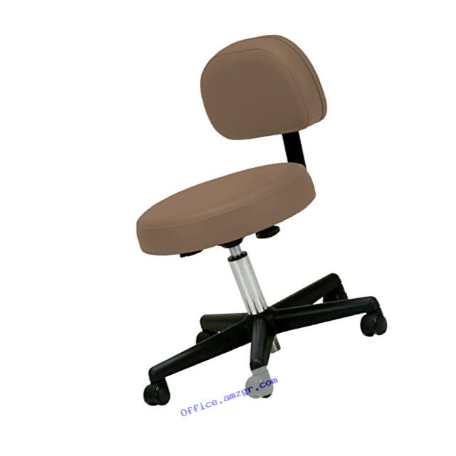 Earthlite Pneumatic Rolling Stool with Back Support, NS Latte