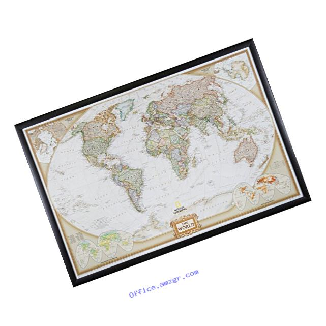 Craig Frames Wayfarer, Executive World Push Pin Travel Map, Brazilian Walnut frame and Pins, 24 by 36-Inch
